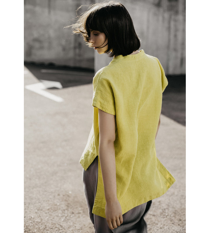 Lime Yellow Linen Blouse