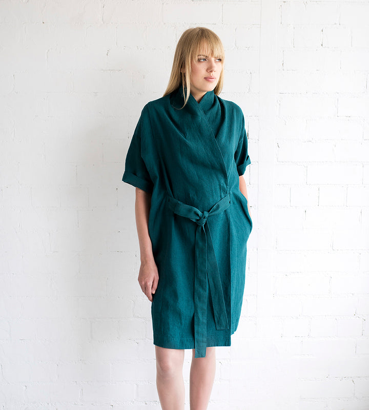 Motumo - Linen Wrap Dress in Teal at Amberoot (1)