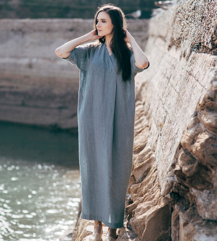 Motumo - Longline Grey Linen Dress at Amberoot (1)