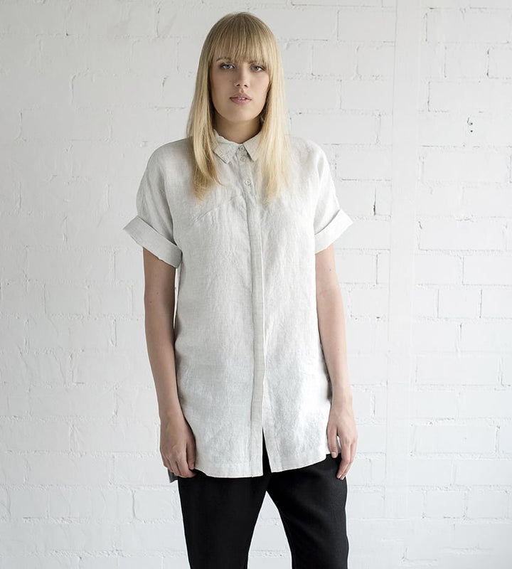 Motumo - Longline Off White Linen Shirt at Amberoot (1)