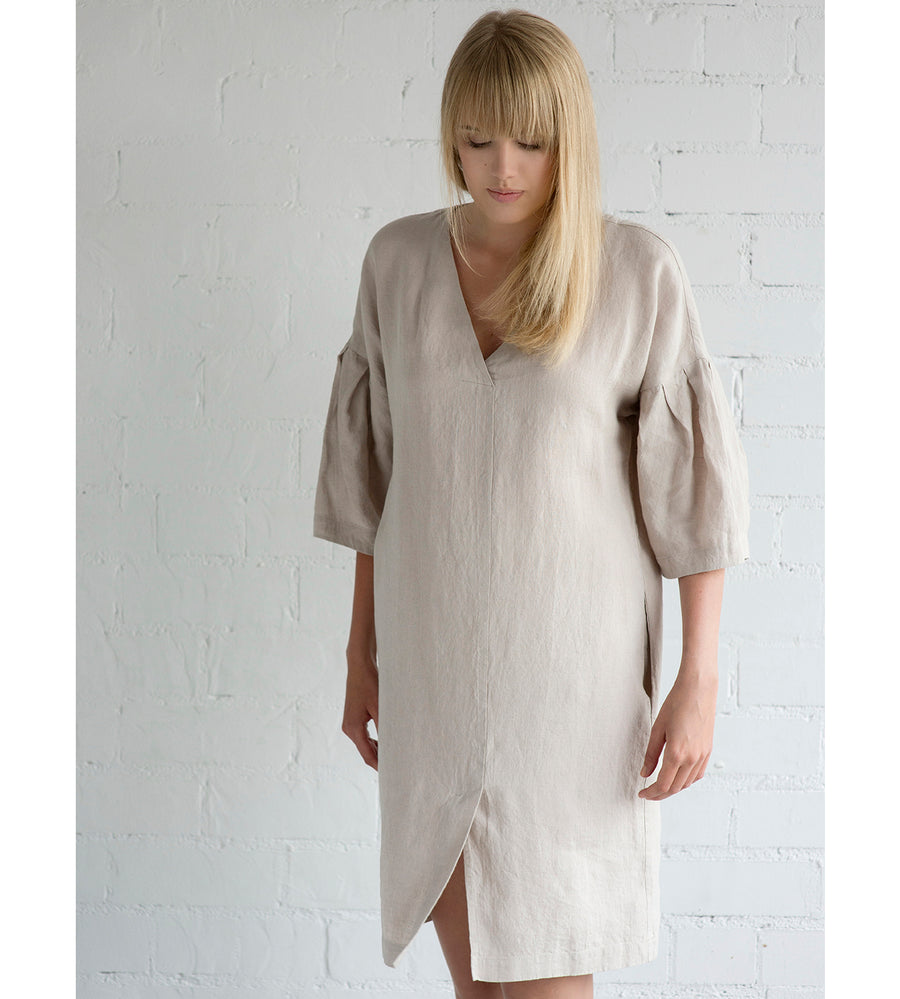 Motumo - Loose Fit Summer Dress in Eggshell White at Amberoot (1)