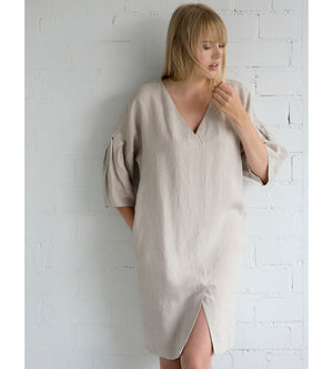 Motumo - Loose Fit Summer Dress in Eggshell White at Amberoot (2)