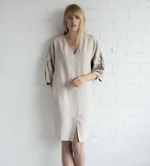 Motumo - Loose Fit Summer Dress in Eggshell White at Amberoot (5)