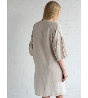 Motumo - Loose Fit Summer Dress in Eggshell White at Amberoot (7)