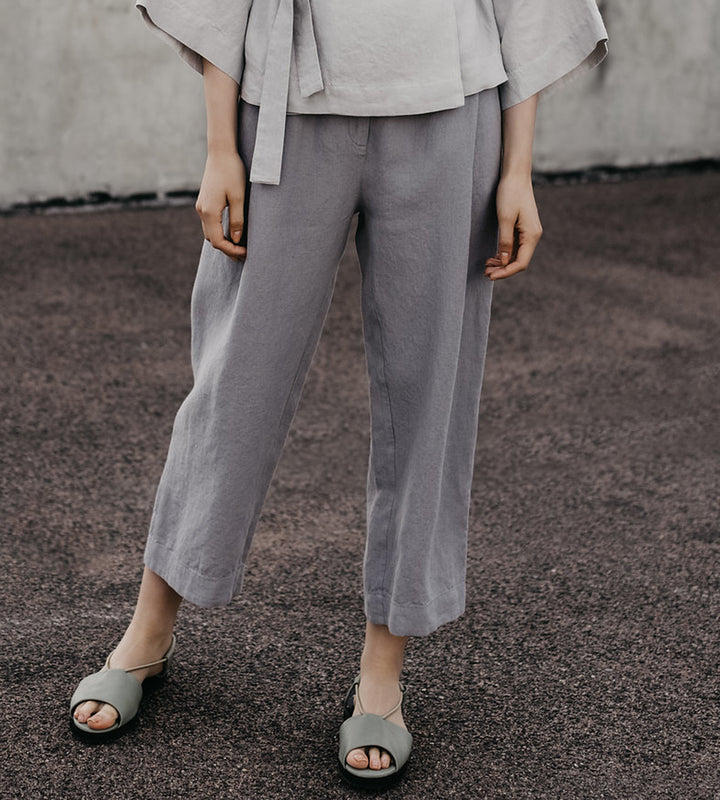 Loose Grey Linen Culottes
