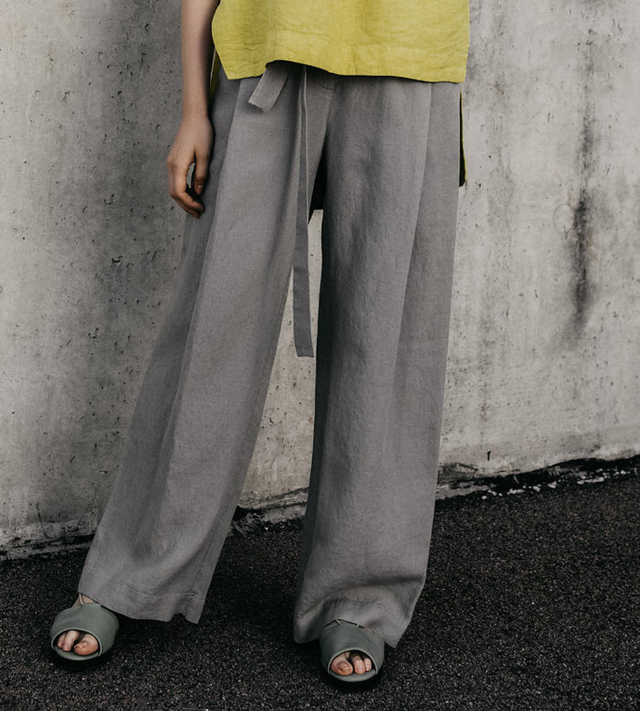 Loose Grey Linen Trousers