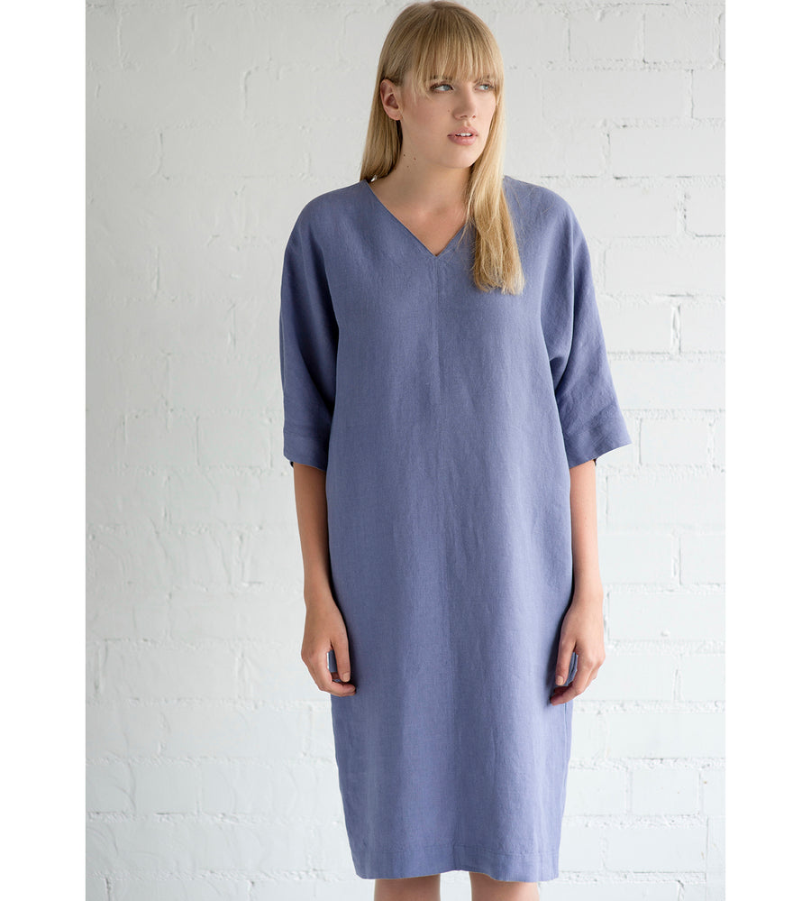 Motumo - Mauve Linen Summer Dress at Amberoot (1)