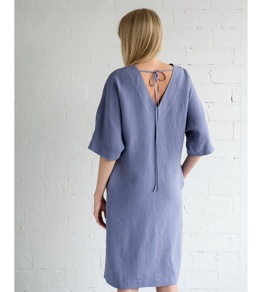 Motumo - Mauve Linen Summer Dress at Amberoot (4)