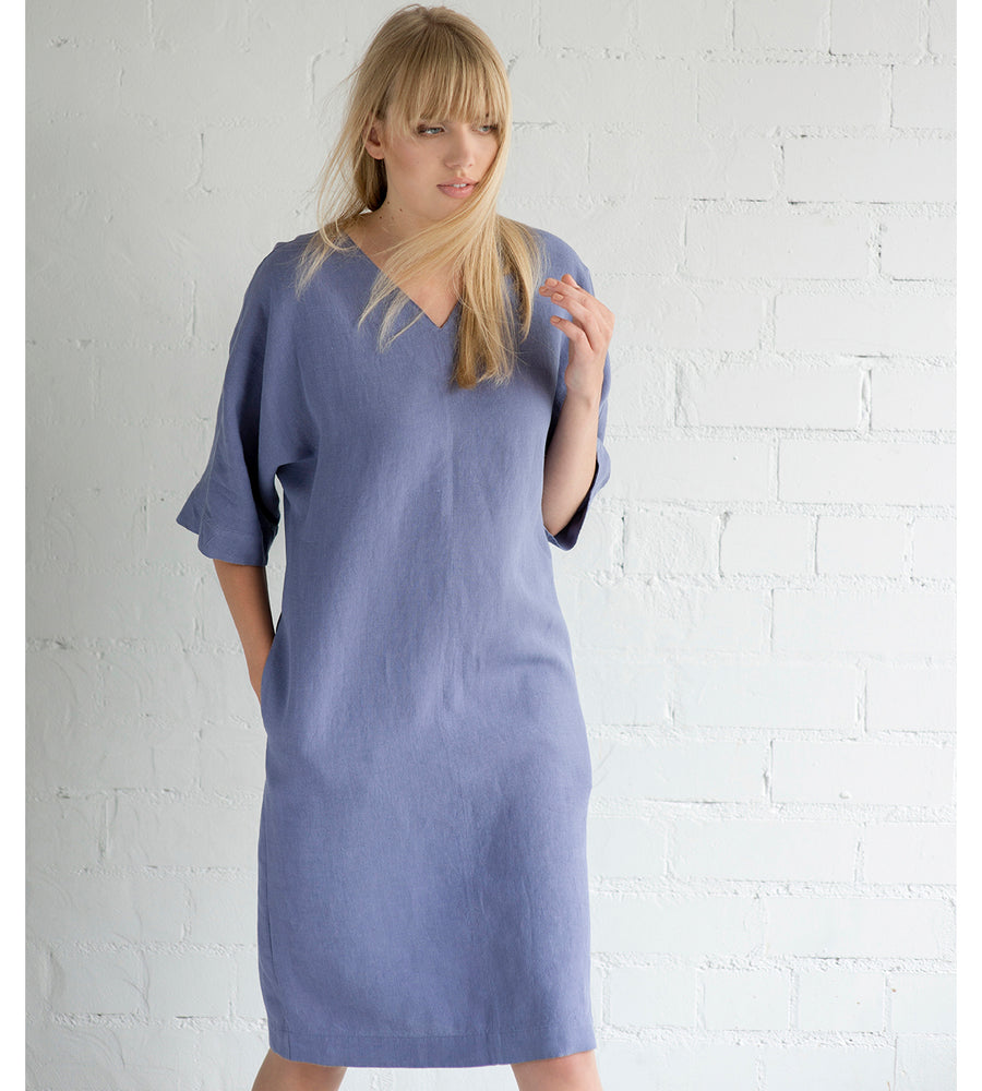Motumo - Mauve Linen Summer Dress at Amberoot (5)
