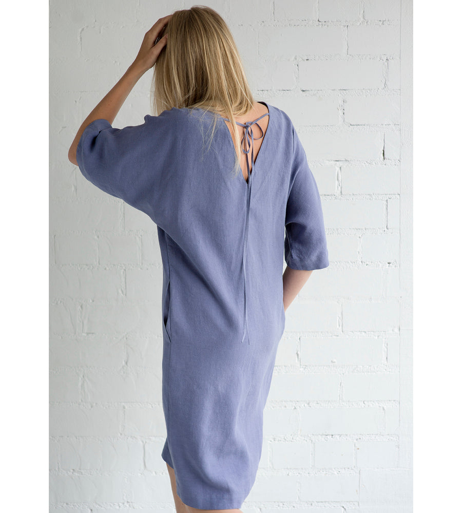 Motumo - Mauve Linen Summer Dress at Amberoot (6)
