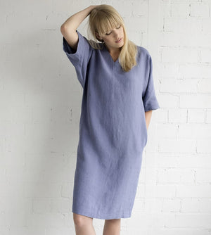 Motumo - Mauve Linen Summer Dress at Amberoot (7)