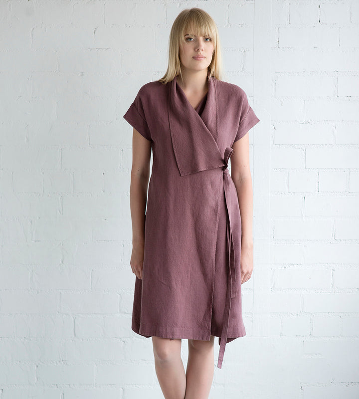 Motumo - Mauve Linen Tie Dress at Amberoot (1)