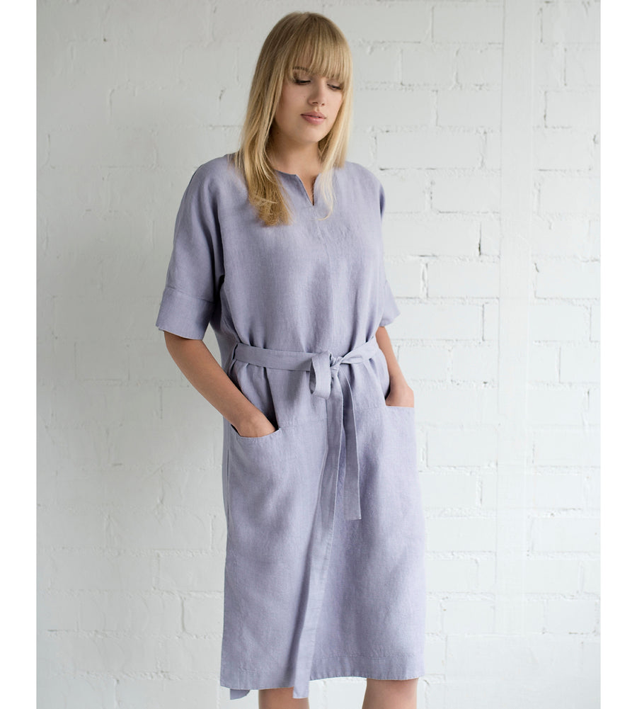 Motumo - Mauve Linen Wrap Dress at Amberoot (1)