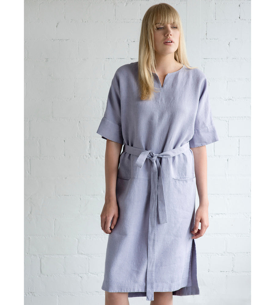 Motumo - Mauve Linen Wrap Dress at Amberoot (2)