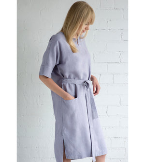 Motumo - Mauve Linen Wrap Dress at Amberoot (3)