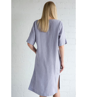 Motumo - Mauve Linen Wrap Dress at Amberoot (4)