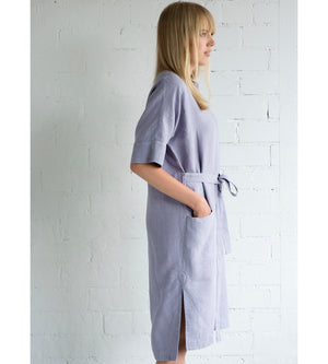 Motumo - Mauve Linen Wrap Dress at Amberoot (5)
