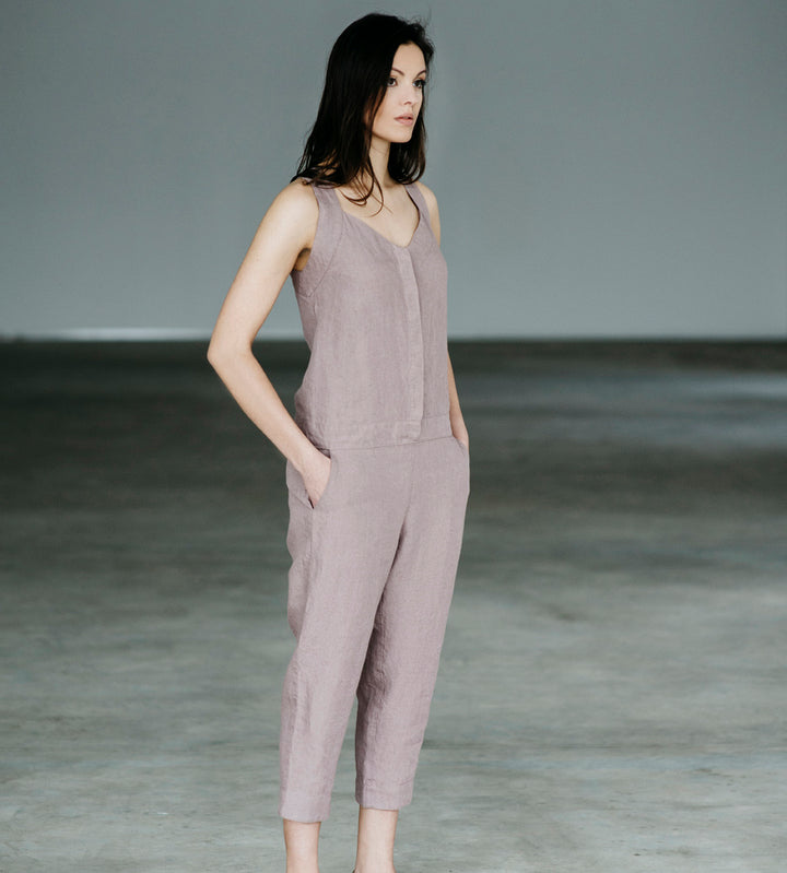 Motumo - Pale Rose Linen Jumpsuit at Amberoot (1)