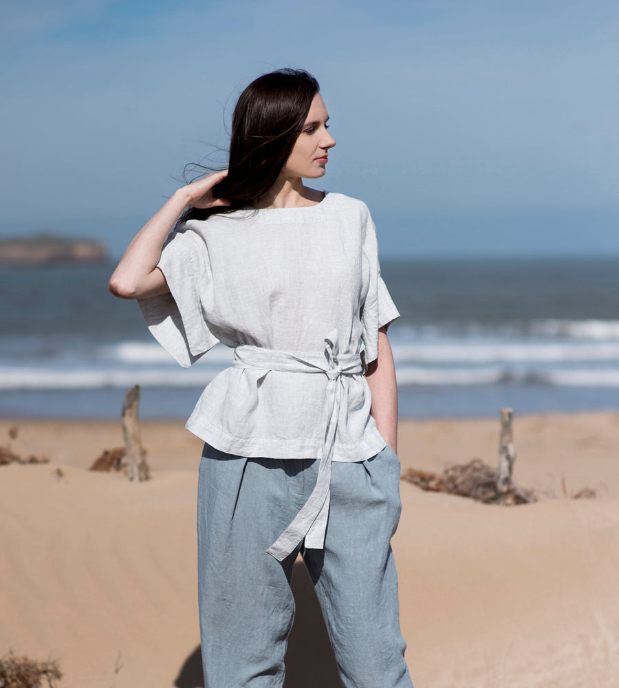 Motumo - Pale Sky Linen Wrap Top at Amberoot (1)