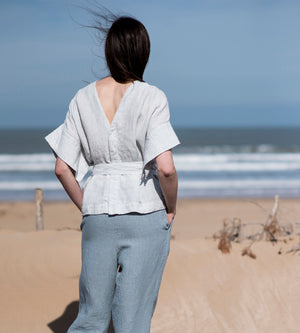 Motumo - Pale Sky Linen Wrap Top at Amberoot (4)