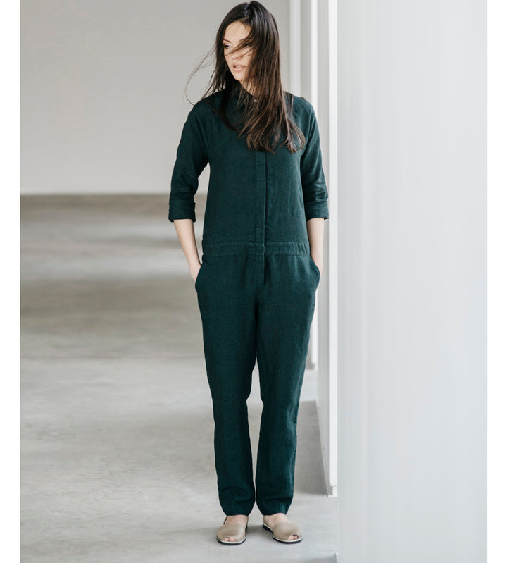Motumo - Petrol Blue Linen Jumpsuit at Amberoot (1)