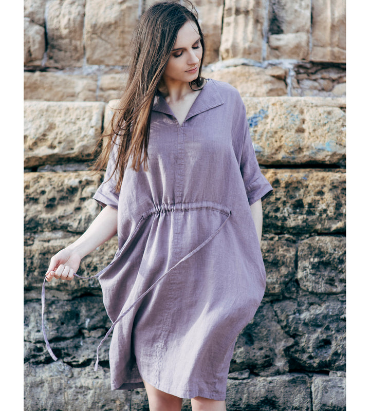 Motumo - Purple Linen Dress at Amberoot (1)