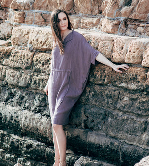 Motumo - Purple Linen Dress at Amberoot (2)