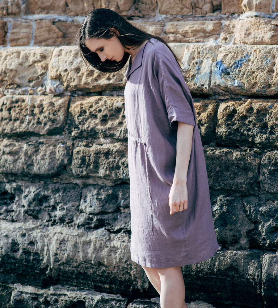 Motumo - Purple Linen Dress at Amberoot (3)