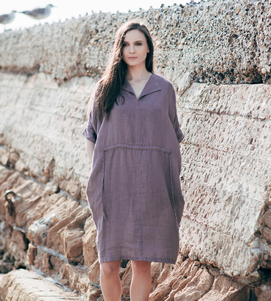 Motumo - Purple Linen Dress at Amberoot (5)