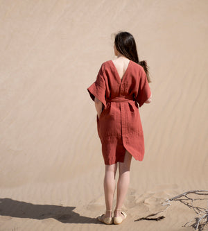 Motumo - Red Kimono Dress at Amberoot (4)