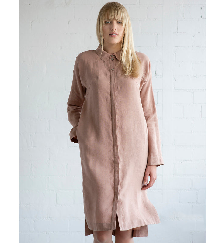 Motumo - Soft Mauve Linen Shirt Dress at Amberoot (1)