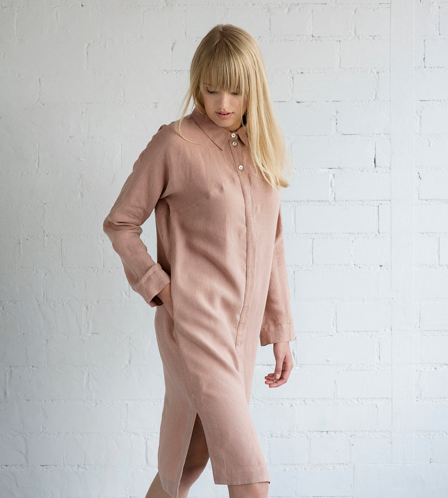 Motumo - Soft Mauve Linen Shirt Dress at Amberoot (2)