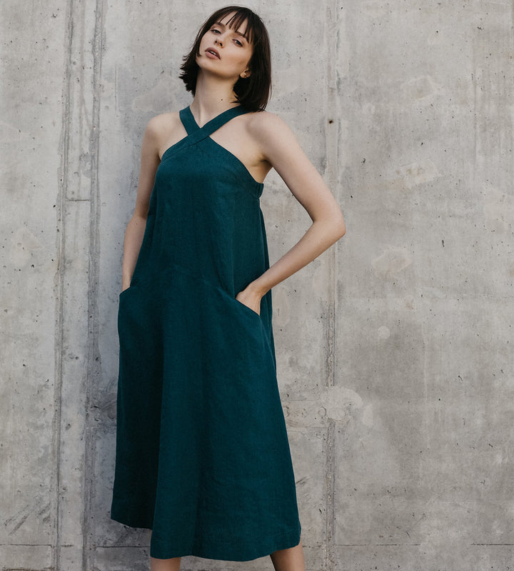 Teal Cross Neck Linen Dress
