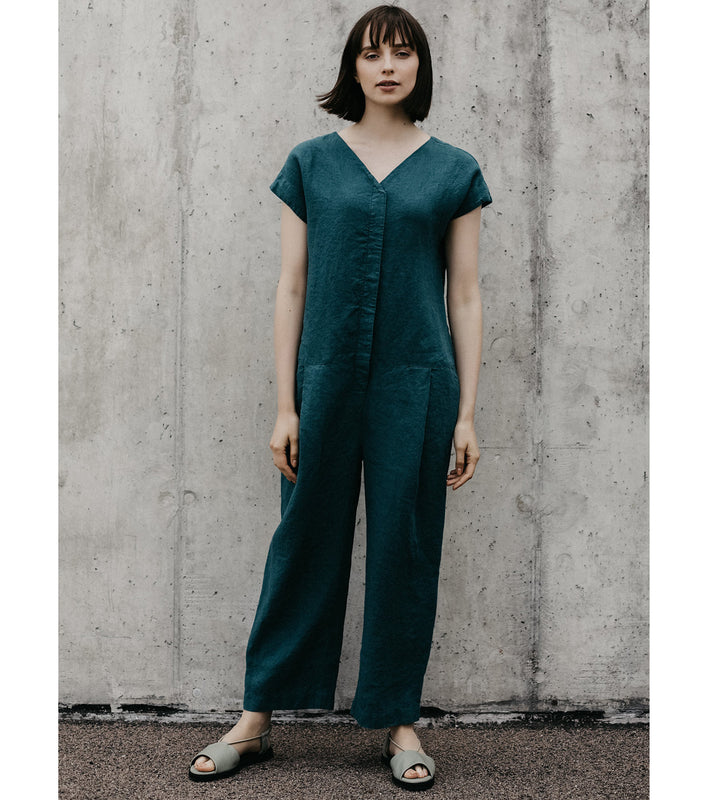 Teal Linen Jumpsuit
