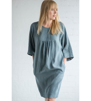 Motumo - Teal Summer Dress with Ruffle Detail at Amberoot (3)