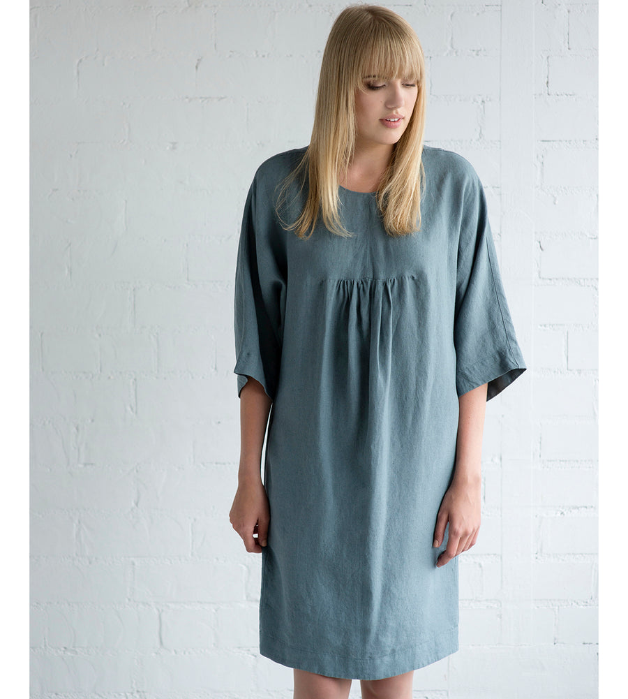 Motumo - Teal Summer Dress with Ruffle Detail at Amberoot (5)