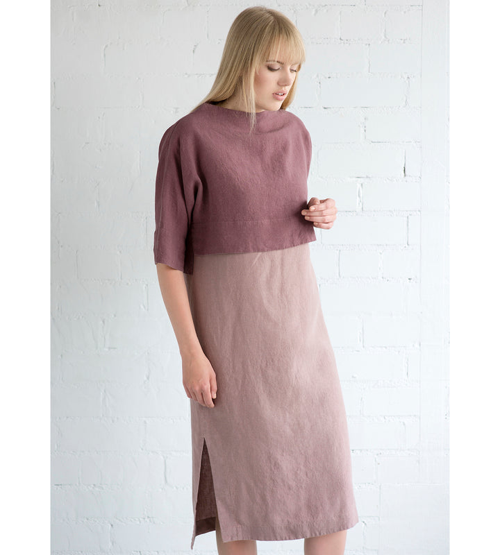 Motumo - Two Tone Mauve Linen Dress with a Linen Jumper at Amberoot (1)