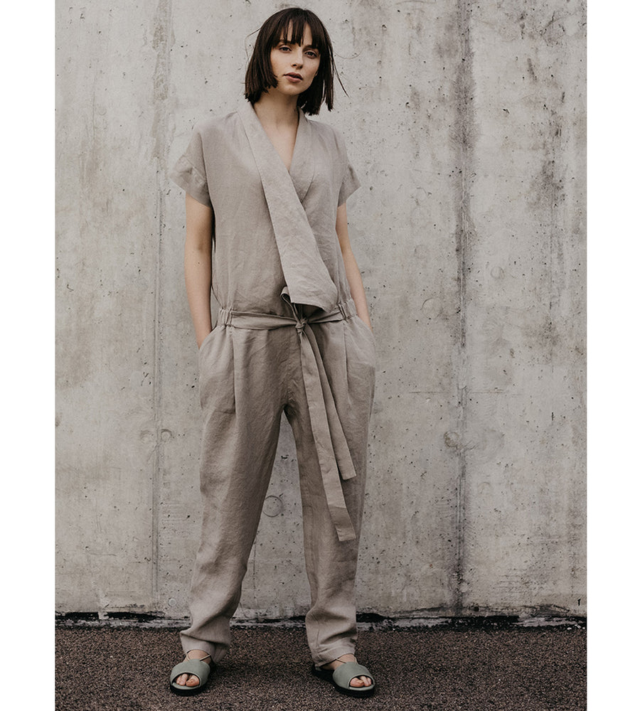 Unique Beige Linen Jumpsuit