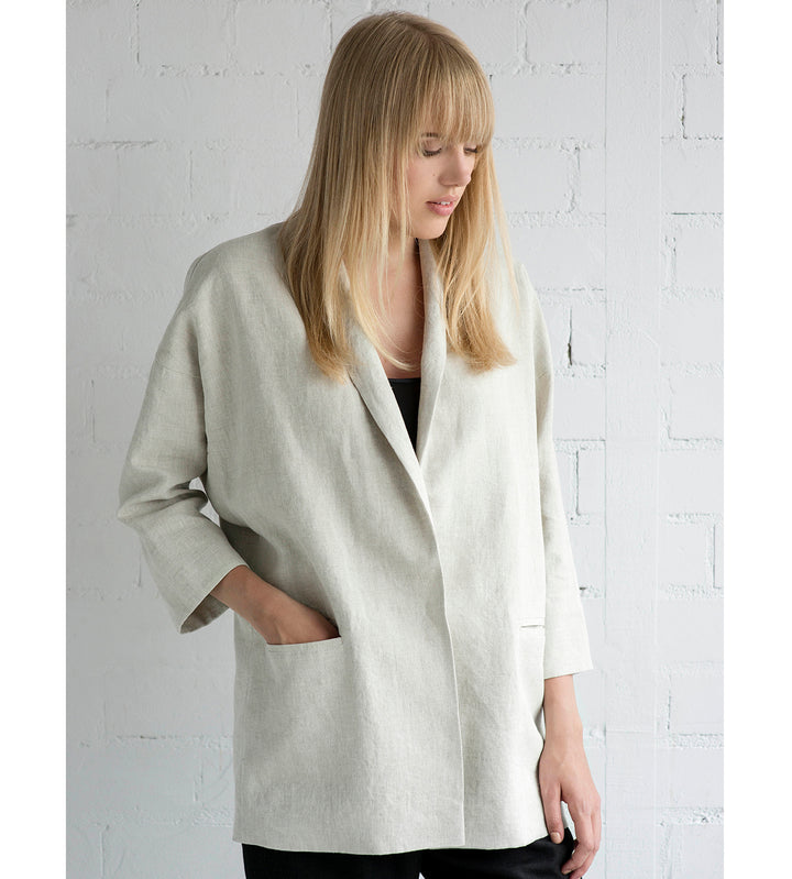 Motumo - Unstructured Cream Linen Blazer at Amberoot (1)