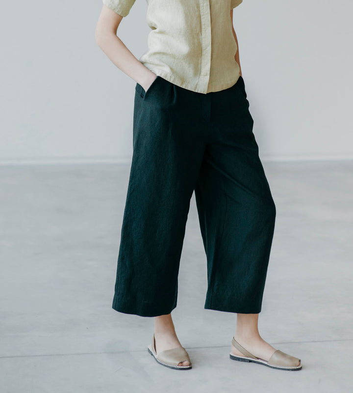 Motumo - Very Dark Green Linen Culottes at Amberoot (5)