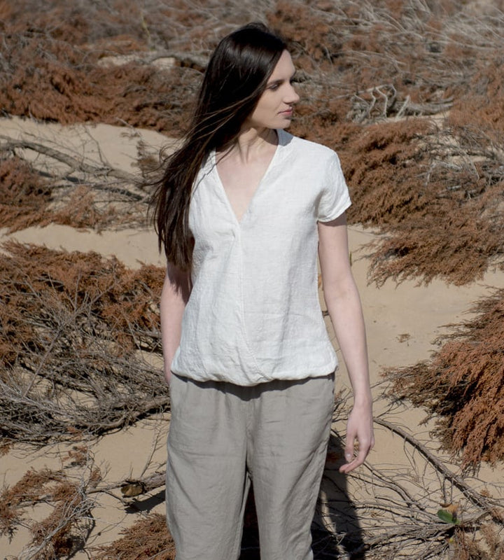 Motumo - White Linen Blouse at Amberoot (1)