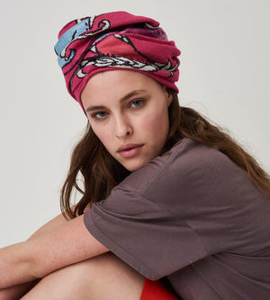 Silvia Giovanardi - Dragon Pink Silk & Wool Scarf at Amberoot (3)