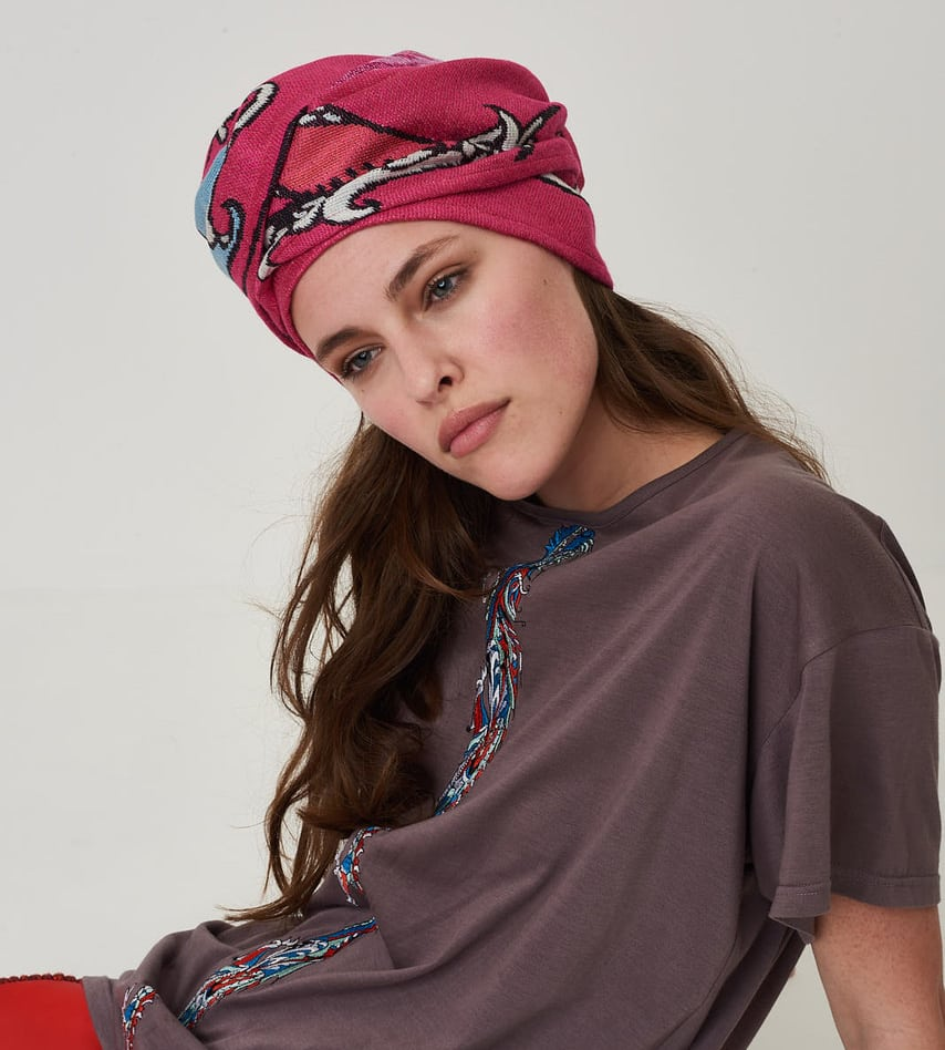 Silvia Giovanardi - Dragon Pink Silk & Wool Scarf at Amberoot (4)