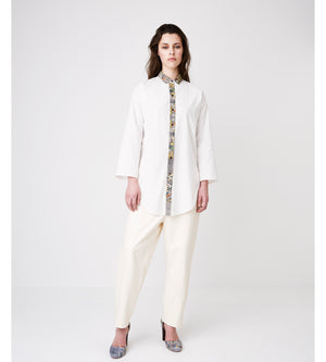 Silvia Giovanardi – Hand Embroidered Organic Cotton & Hemp White Shirt at Amberoot (1)