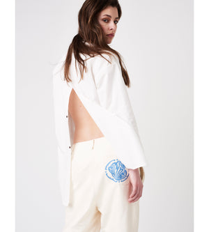 Silvia Giovanardi – Hand Embroidered Organic Cotton & Hemp White Shirt at Amberoot (6)