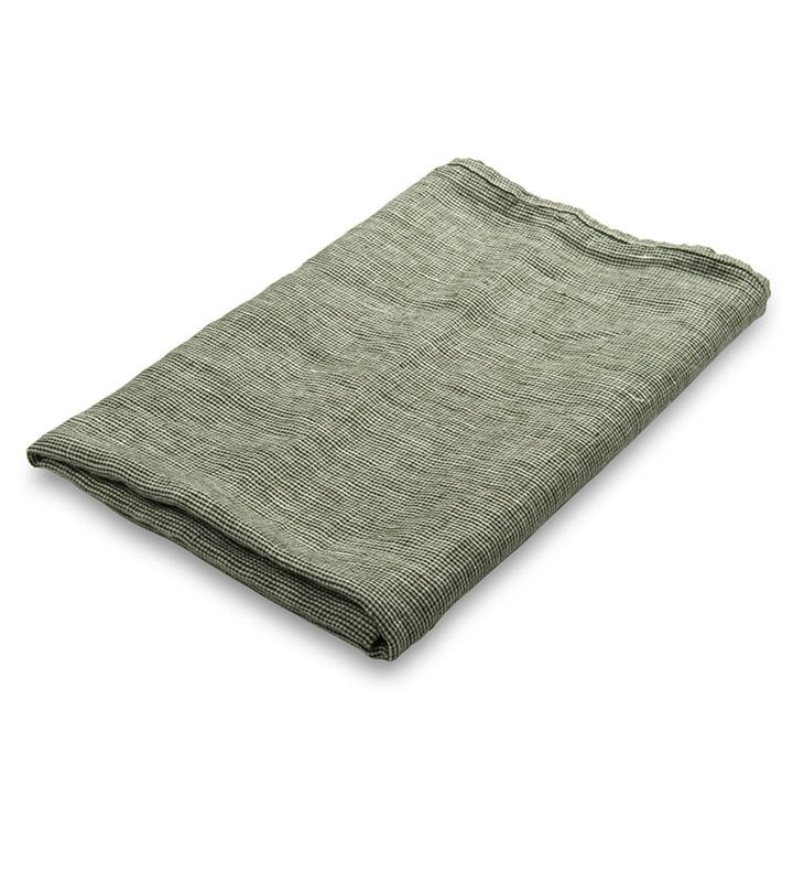 Thin Green Check Linen Towel