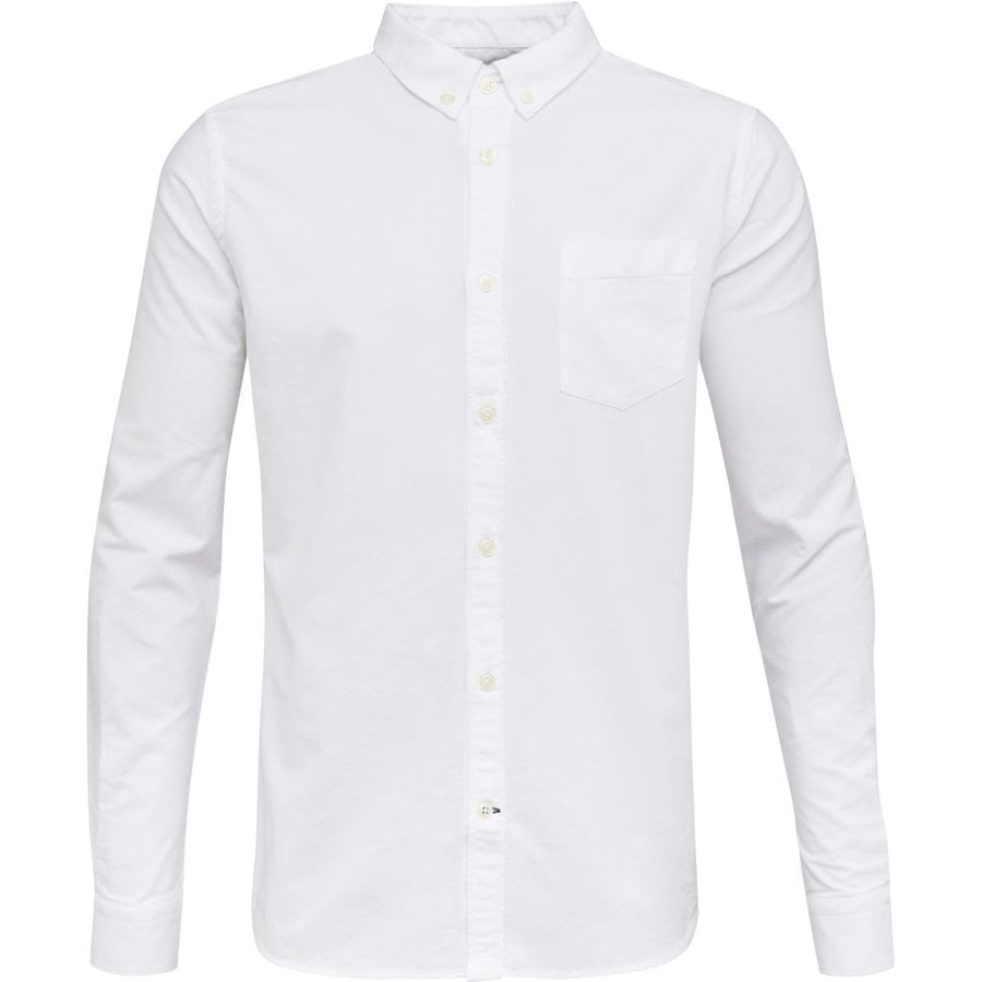 KnowledgeCotton Apparel Bright White Oxford GOTS Organic Cotton Men's Shirt Amberoot 90000