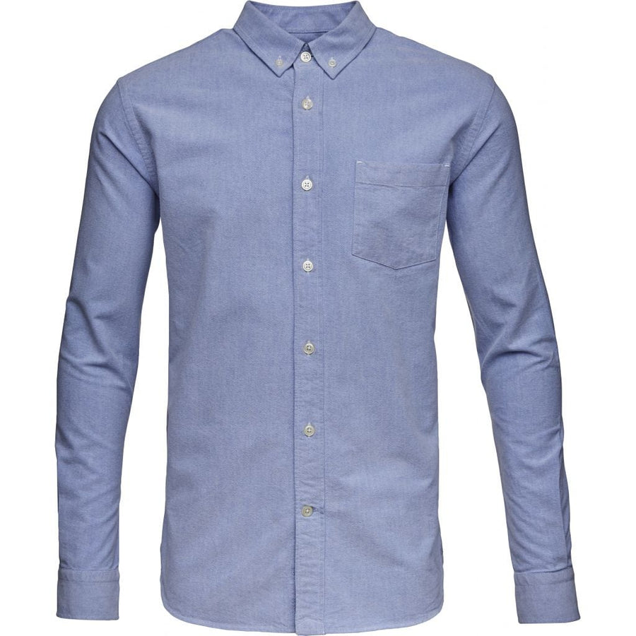 KnowledgeCotton Apparel Light Blue Oxford GOTS Organic Cotton Men's Shirt Amberoot 90000