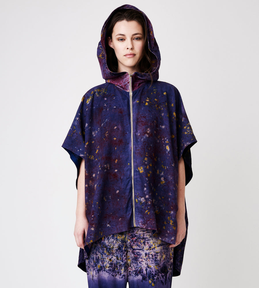 Soy Deep Purple Hand Dyed Hooded Jacket