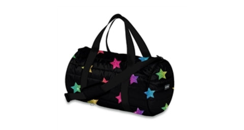 Multi Glitter Star Puffer Duffle Bag